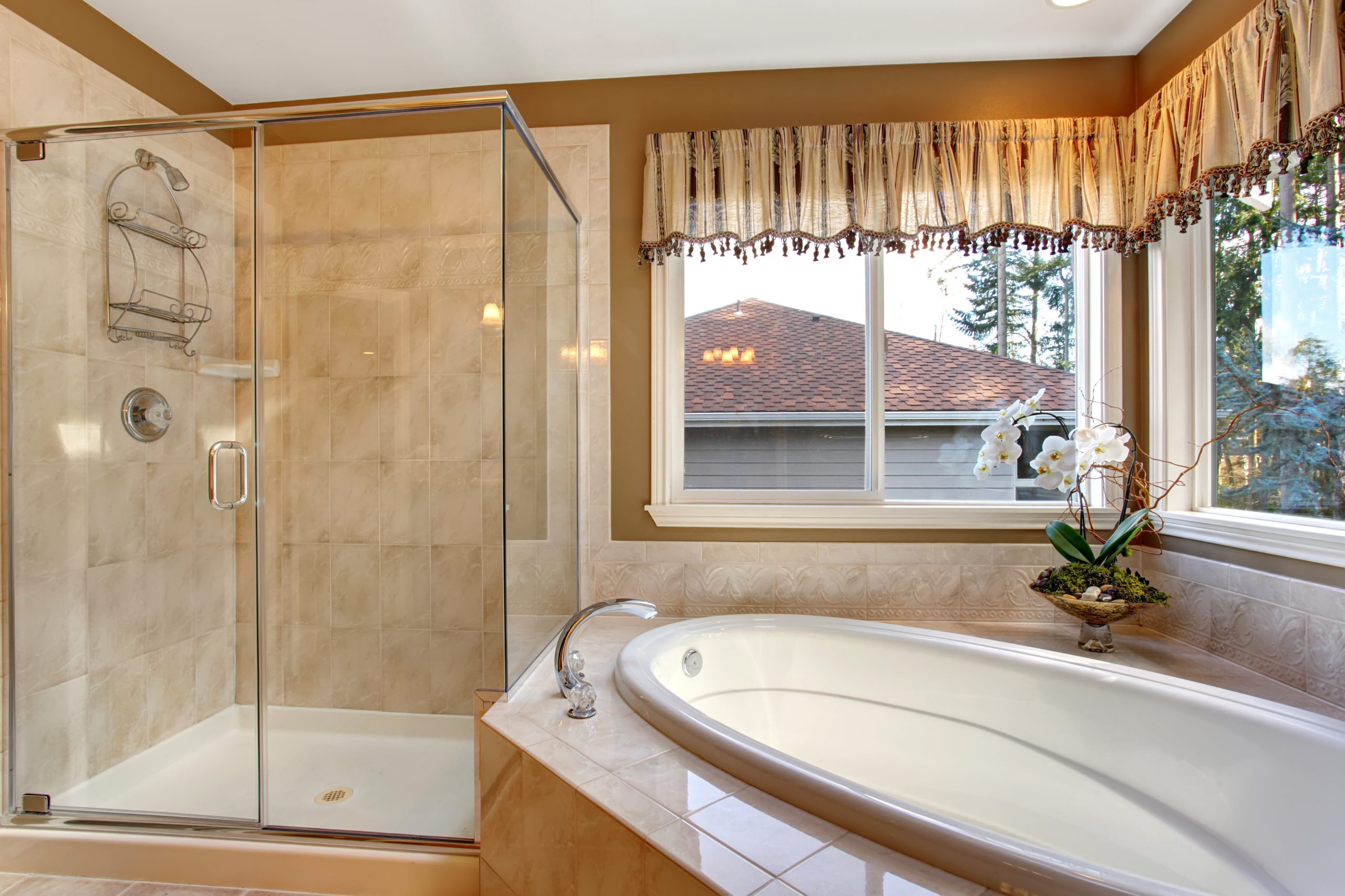 An example of a frameless shower door installation